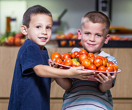 Two boys holding a tray of tomatoes