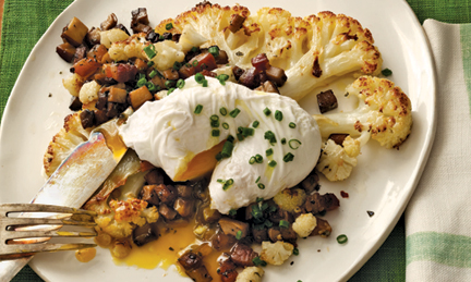 cauliflower steak and poached egg recipe from New York 4-H Alumna and celebrity chef Anne Burrell