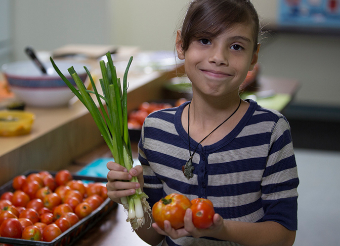 4-H girl cooking a healthy snack