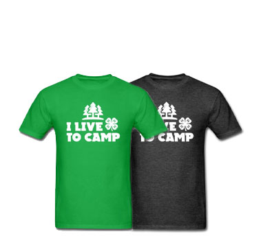 black and green 4-H Live to Camp t-shirts from Shop 4-H